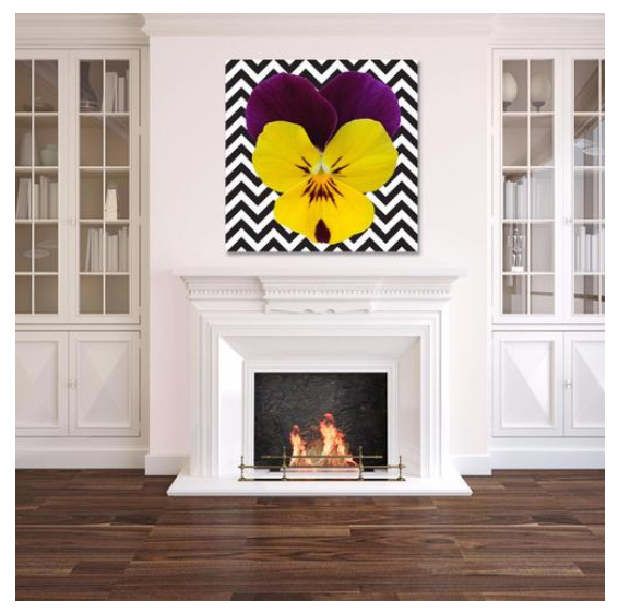 Yellow and Purple Pansy on B/W Chevron