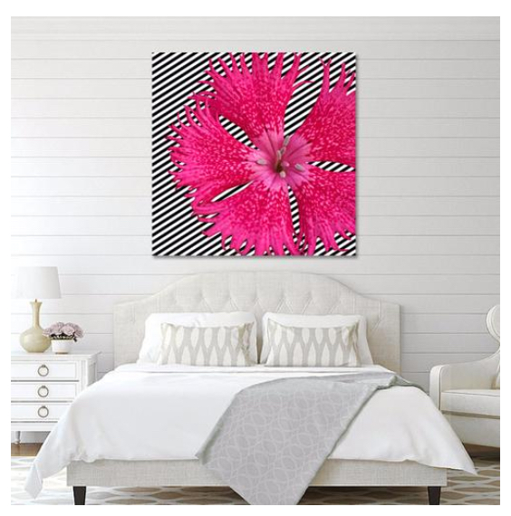 Pink Flower on B/W Stripes