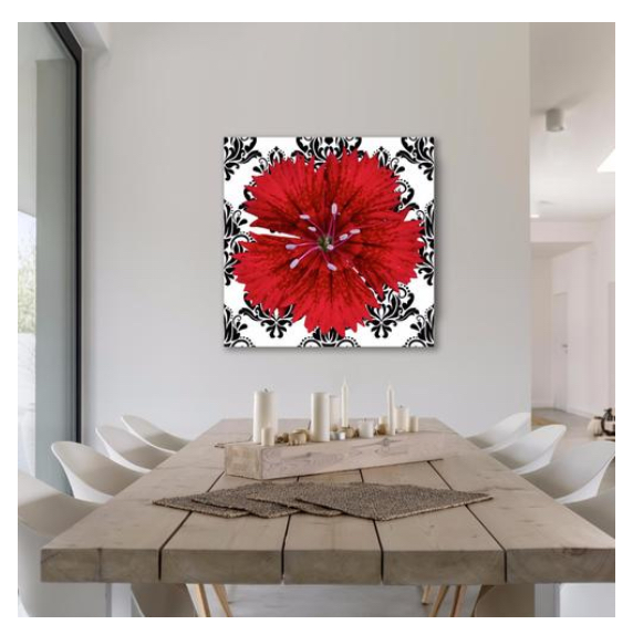 Red Flower on Whimsical Floral Pattern