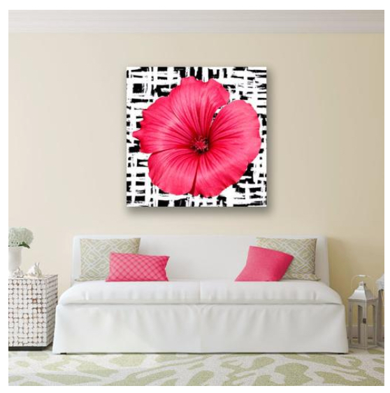 Pink Flower on B/W Grid Pattern
