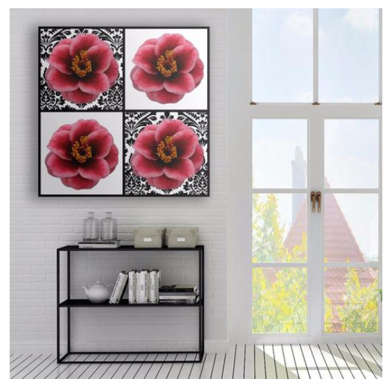Red Pink Camellia Quartet on Checkers