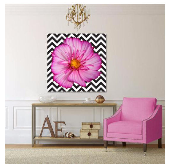 HOT PINK FLOWER ON B/W CHEVRON