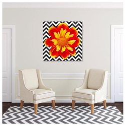 Red and Yellow Flower on Black and White Chevron