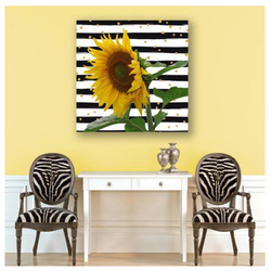 YELLOW SUNFLOWER ON CHEVRON WITH GOLD FLECKS